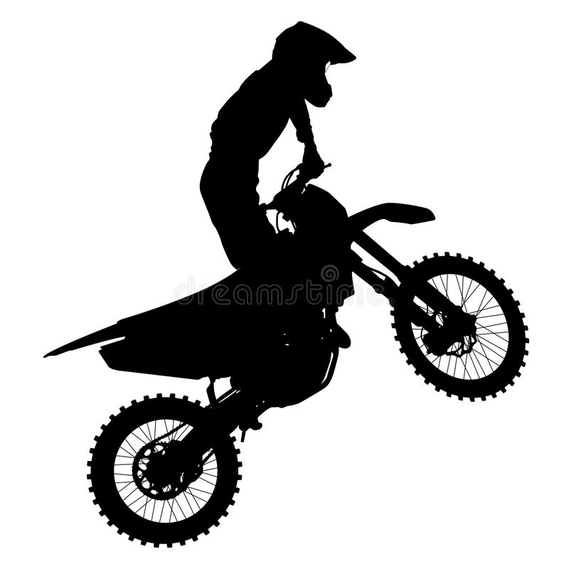 El negro siluetea al jinete del motocrós en una motocicleta ilustración del vector