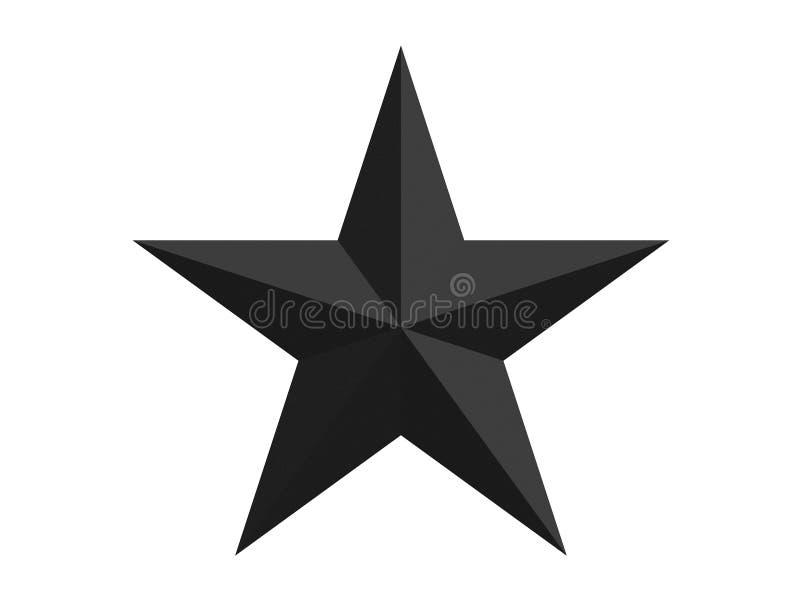 El negro talló la estrella con los lados aislados en una representación blanca del fondo 3d stock de ilustración