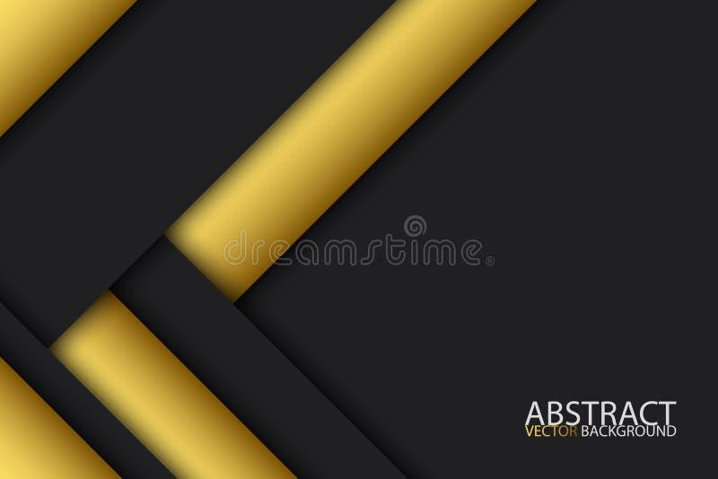 El negro y el diseño material moderno del oro, vector con pantalla grande abstracto libre illustration