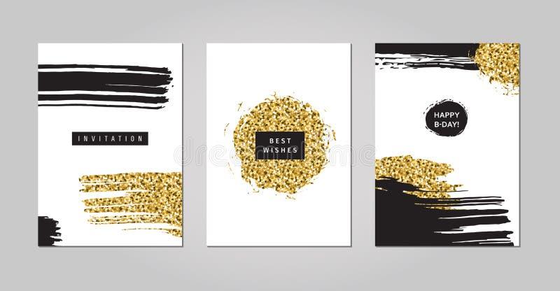 El negro y el oro garabatea y el sistema del vector del diseño de los garabatos Parte una stock de ilustración
