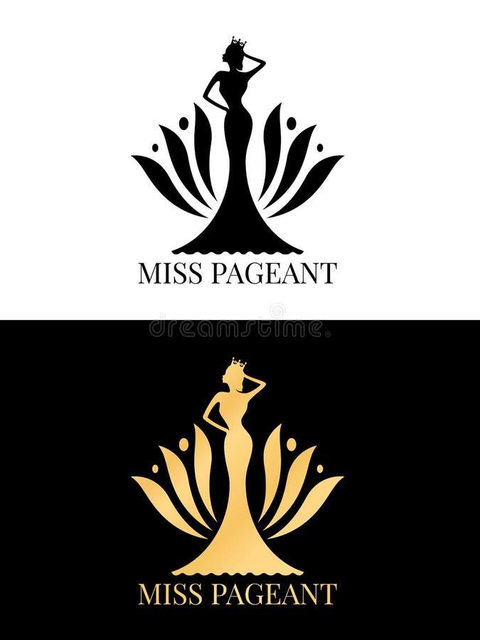 El negro y la muestra del logotipo del desfile de la Srta. del oro con la reina de belleza llevan un diseño del vector del conte libre illustration