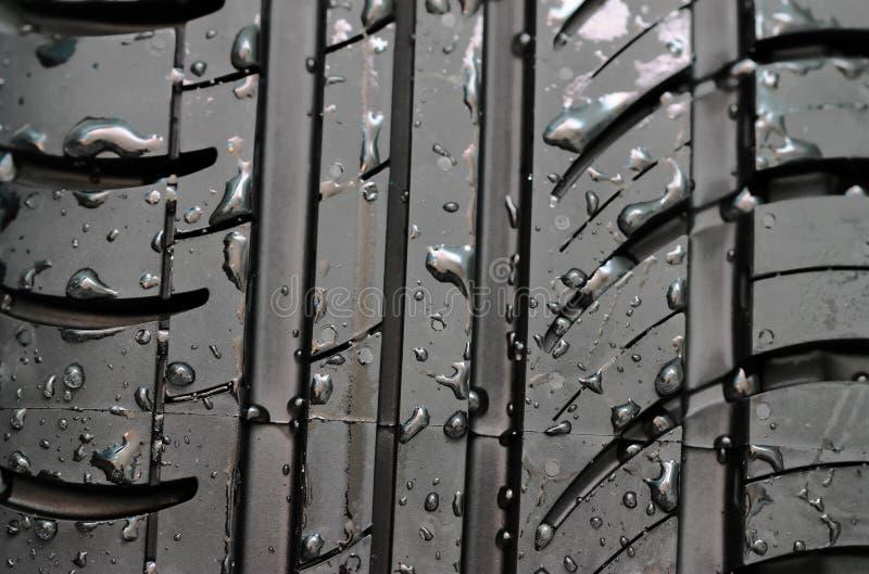 El neumático de coche con con agua cae al fondo