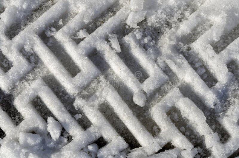 El neumático marca en la nieve imágenes de archivo libres de regalías