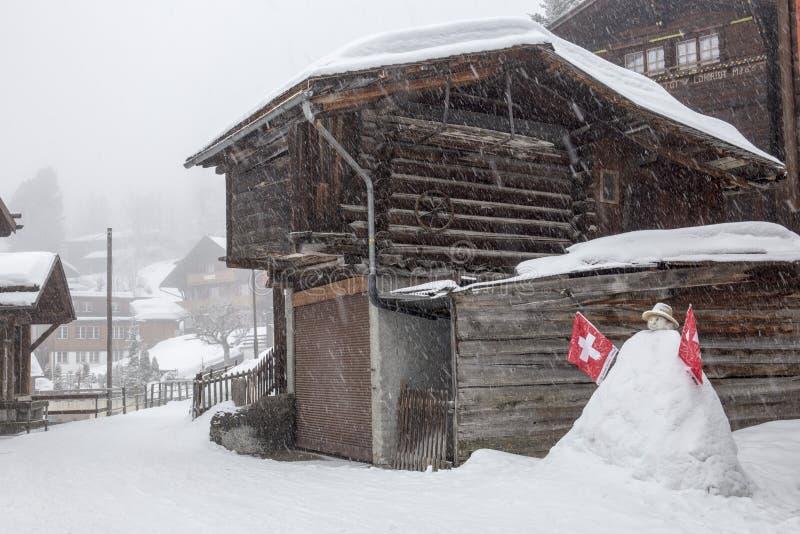 El nevar en las montañas suizas imágenes de archivo libres de regalías