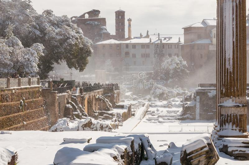 El nevar en Roma imagen de archivo