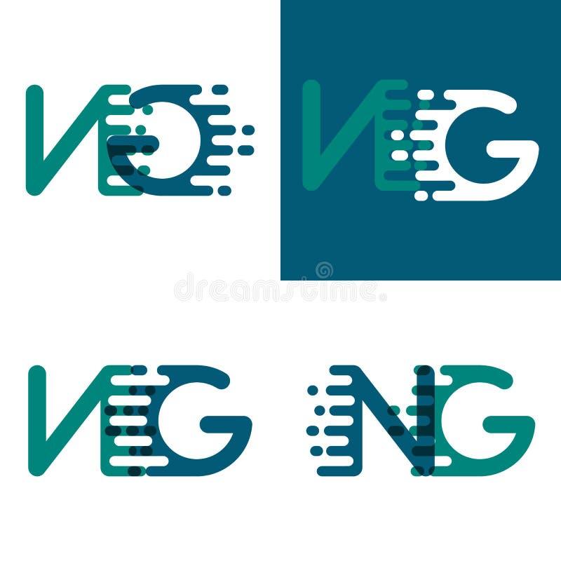 El NG pone letras al logotipo con acento para apresurar en púrpura verde y oscura stock de ilustración
