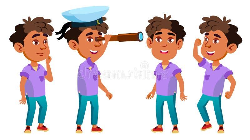 El niño árabe, musulmán de la guardería del muchacho plantea vector determinado pre-entrenamiento Persona positiva joven belleza  stock de ilustración