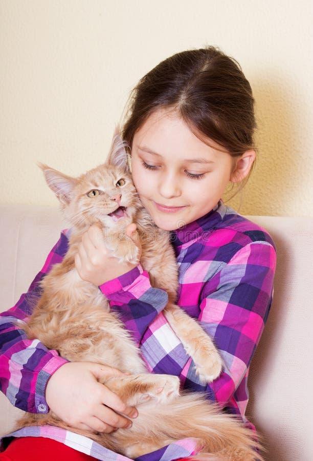 El niño abraza blando el gatito fotografía de archivo