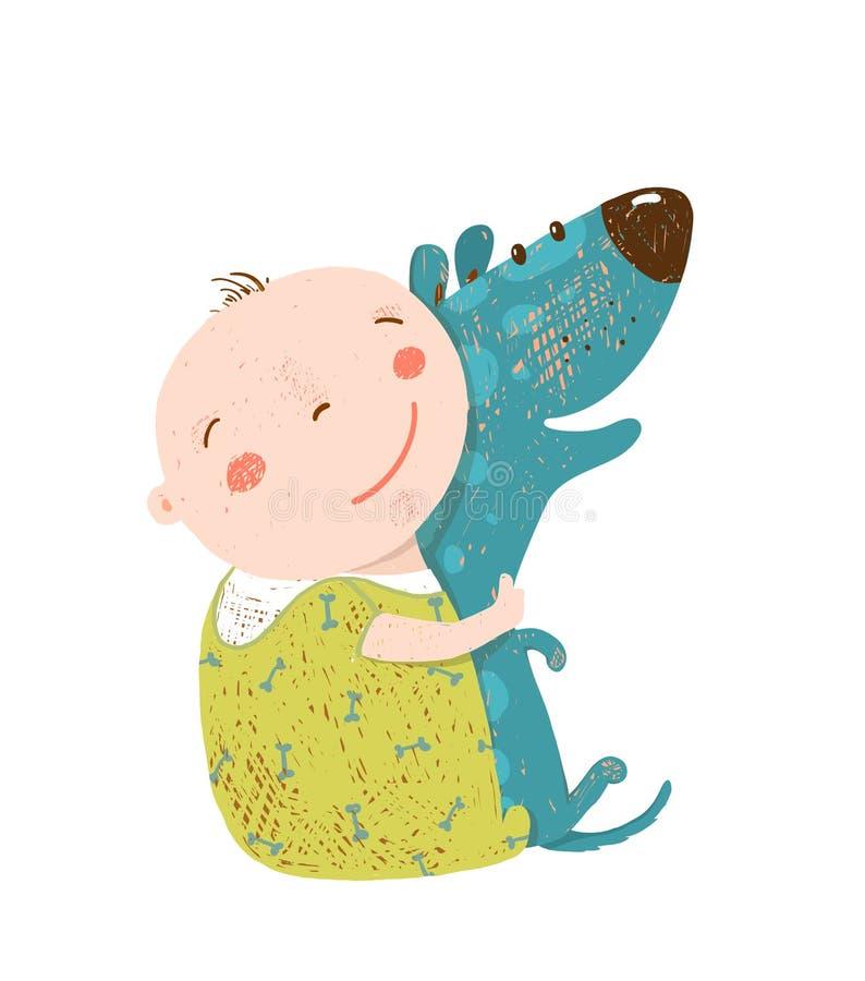 El niño abraza a los mejores amigos felices del perro stock de ilustración
