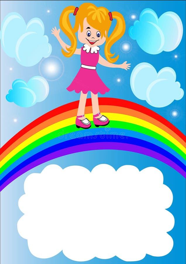 El niño afortunado va en el arco iris stock de ilustración