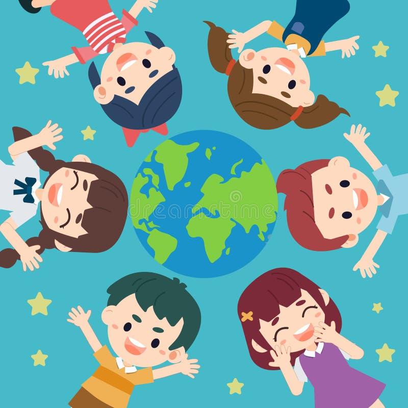 El niño ahorra el mundo en estilo plano del vector libre illustration