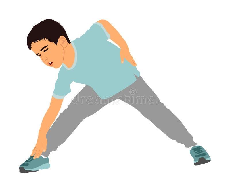 El niño alegre feliz, niño pequeño que hacía el ejemplo del vector de los ejercicios aisló el fondo blanco Muchacho divertido que stock de ilustración