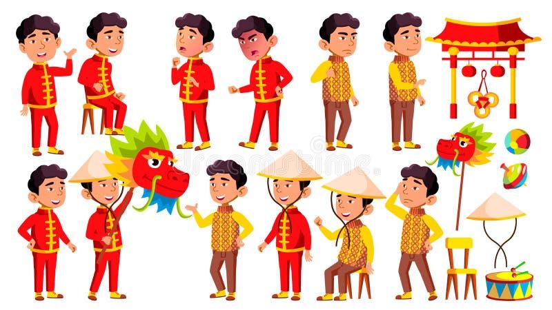 El niño asiático de la guardería del muchacho plantea vector determinado Festival, dragón Carácter feliz de los niños babysitting ilustración del vector