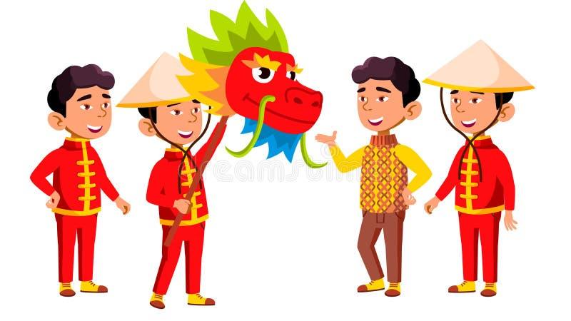 El niño asiático de la guardería del muchacho plantea vector determinado Festival, dragón Pequeños niños Disfrute de la felicidad stock de ilustración
