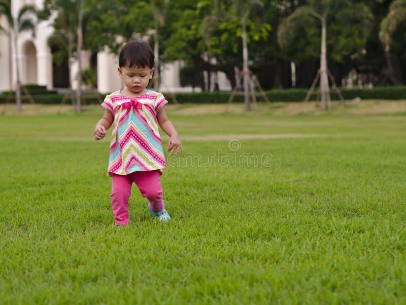 El niño asiático está aprendiendo caminar paso a paso en hierba verdosa imagen de archivo