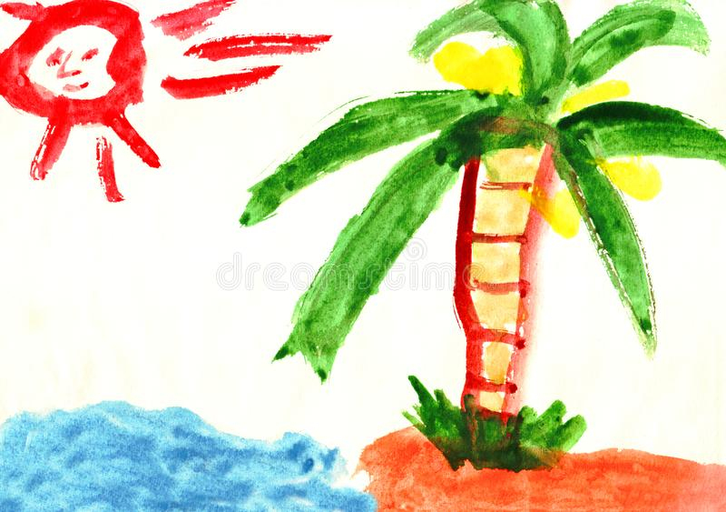 El niño brillante colorido del watercolour pintó la isla desierta con el sol, el mar y la palma stock de ilustración
