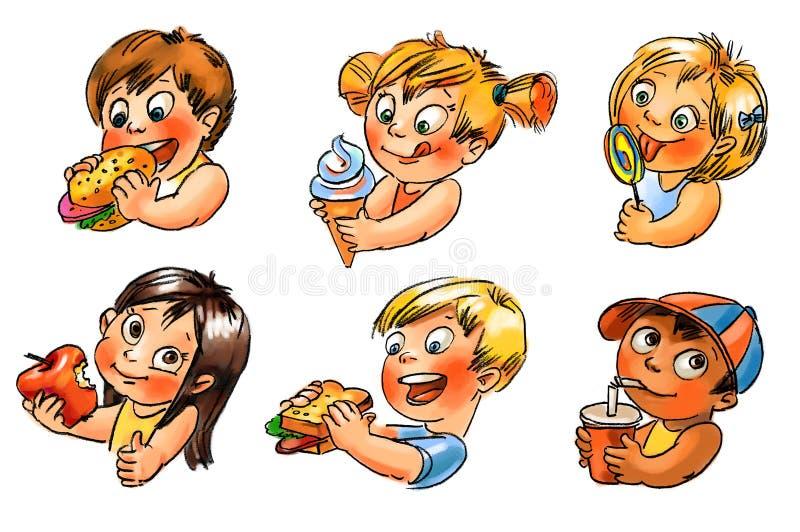 El niño come. Ejemplo pintado a mano libre illustration