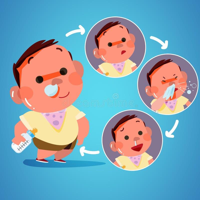 El niño consiguió frío en la acción estornudo diseño de carácter - vector libre illustration