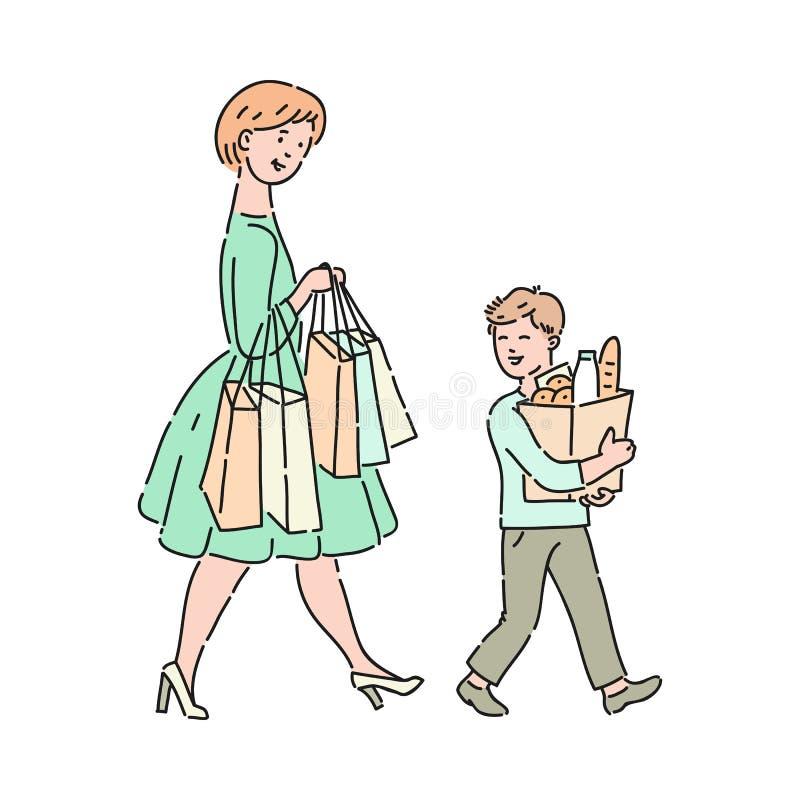 El niño educado del vector ayuda a bolsos que llevan de la madre ilustración del vector