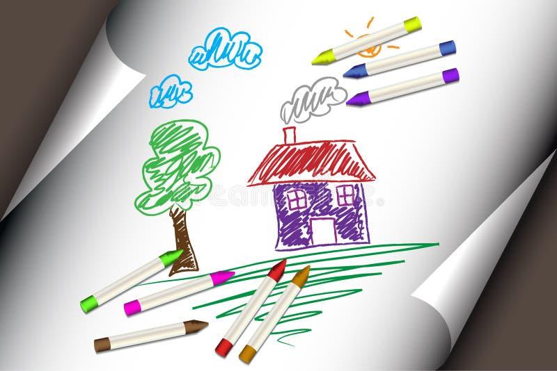 El niño embroma el gráfico de una casa o de un hogar libre illustration