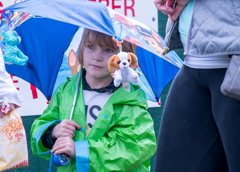 el niño en un acontecimiento de Halloween se coloca por debajo un paraguas con los gatitos y los perritos rellenos fotos de archivo