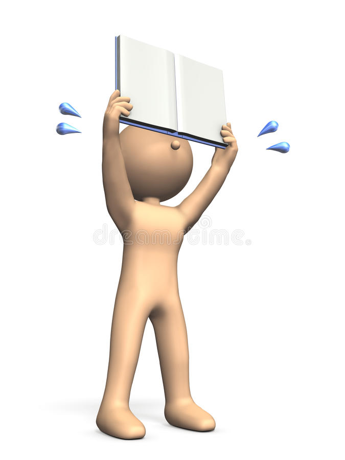 El niño está mostrando un libro Él lo está describiendo con impaciencia ilustración del vector