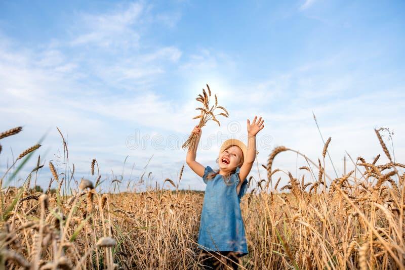 El niño feliz en campo de trigo del otoño tira de sus manos al top y sostiene un ramo de espiguillas de cosechas foto de archivo