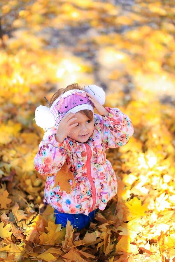 El niño femenino de la muchacha de la hija sienta la naturaleza de los árboles de las hojas del amarillo del otoño de la familia  imágenes de archivo libres de regalías