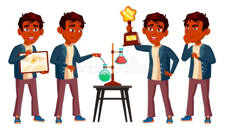 El niño indio del colegial del muchacho plantea vector determinado Alto alumno classmate Adolescente, sala de clase Descubrimient stock de ilustración