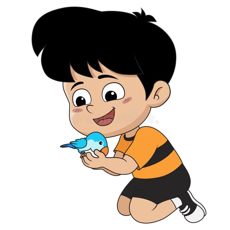 El niño jugaba con su buen amigo, de que es un loro Vec ilustración del vector