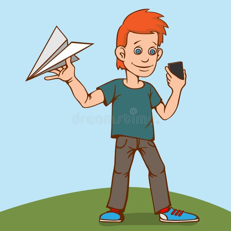 El niño jugaba con un aeroplano de papel, pero fue distraído por un smartphone ilustración del vector