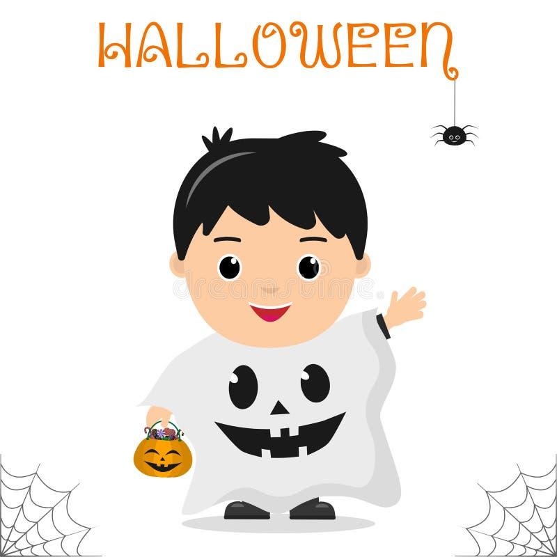 El niño lindo se vistió en el fantasma espeluznante del traje que sostenía una calabaza con los caramelos, celebrando en un parti ilustración del vector
