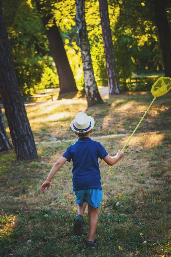 El niño pequeño con la red del sombrero y de la mariposa corre en madera o parquea v trasero imágenes de archivo libres de regalías