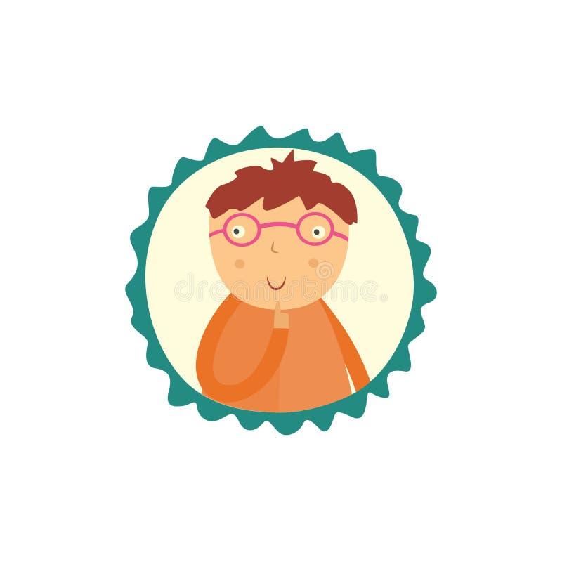 El niño pequeño curioso lindo en glasse se sostiene el finger cerca de cara, mira para arriba y piensa aislado en el fondo blanco ilustración del vector