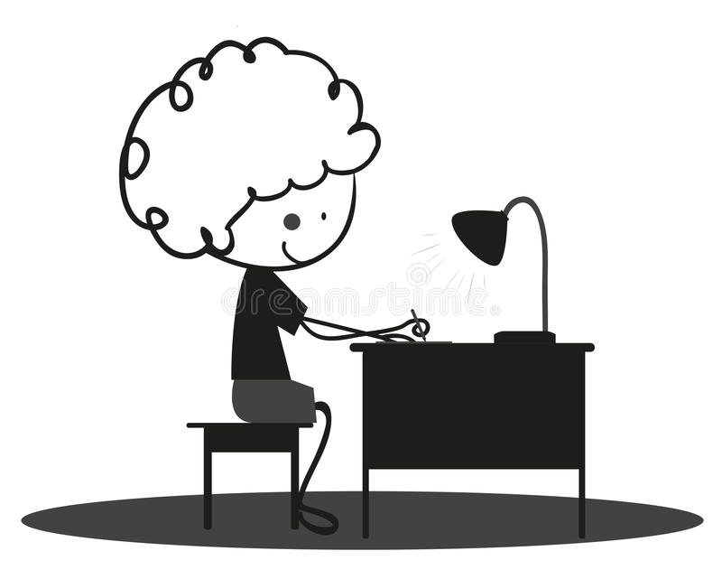 El niño pequeño del garabato está estudiando y está escribiendo stock de ilustración