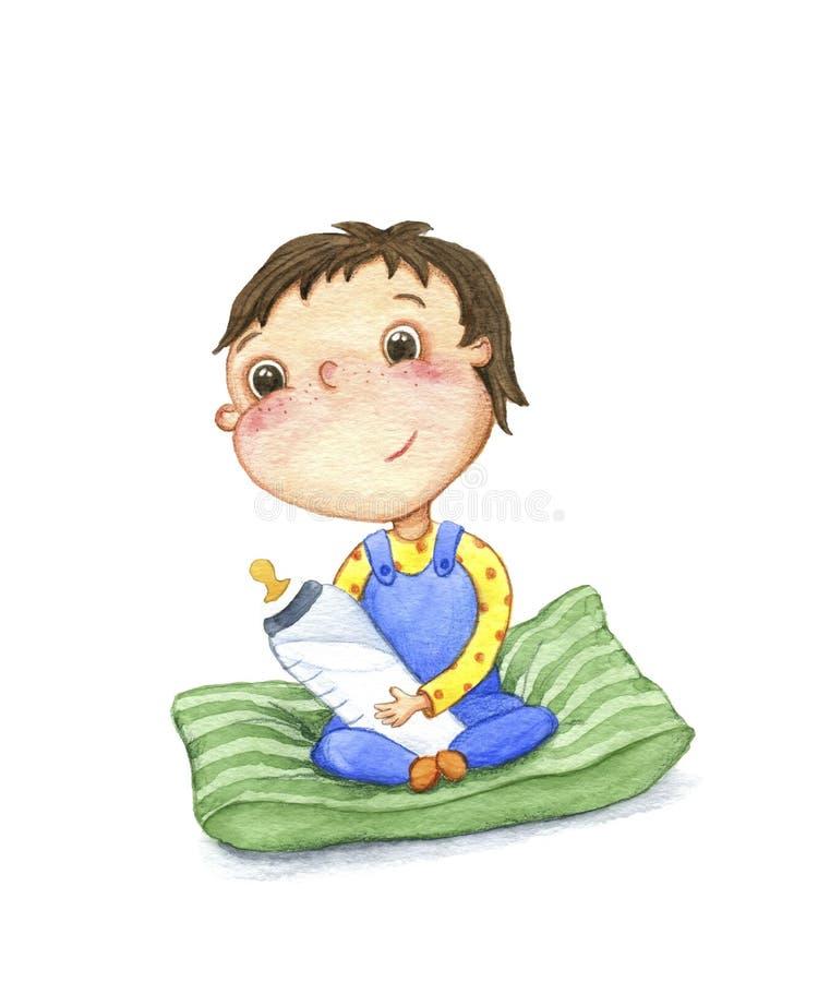 El niño pequeño en la almohada ilustración del vector