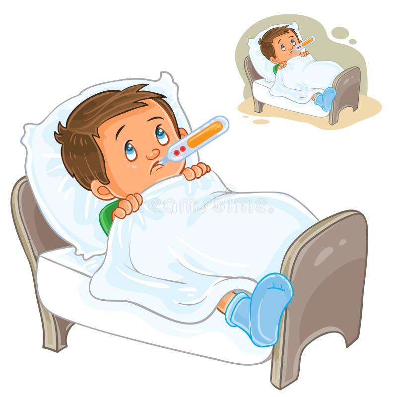 El niño pequeño enfermo del vector miente en cama con un termómetro libre illustration