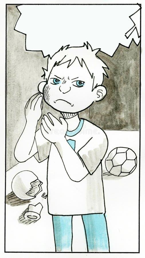 El niño pequeño está enojado, no tiene ningún éxito ilustración del vector