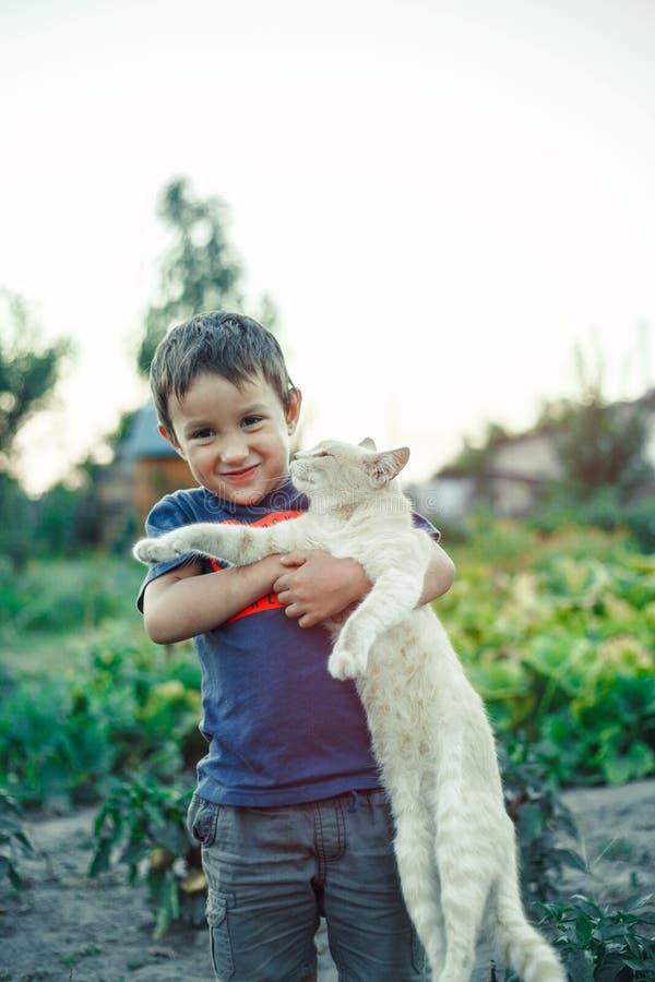 El niño pequeño está jugando con el gato rojo de la piel en pueblo foto de archivo