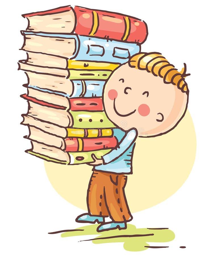 El niño pequeño está llevando una pila grande de libros libre illustration