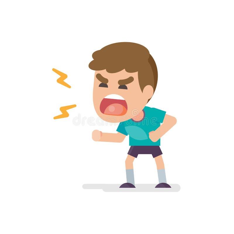 El niño pequeño lindo consigue la expresión que lucha y de grito enojada enojada, ejemplo del vector stock de ilustración