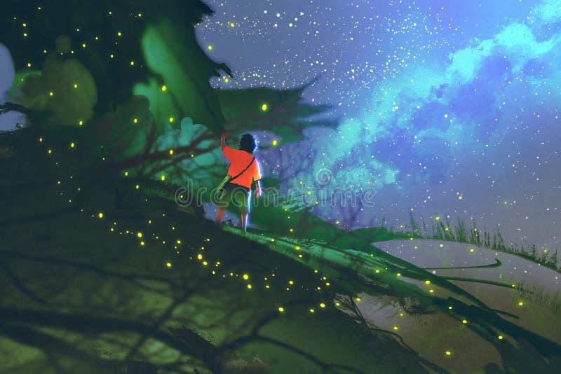 El niño pequeño que se coloca en gigante deja la mirada de un cielo nocturno stock de ilustración