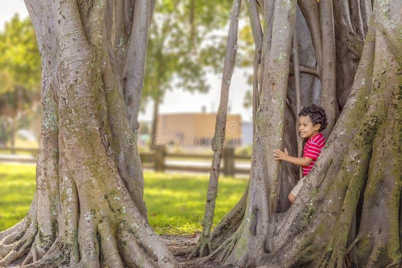 El niño pequeño sale de ocultación con una sonrisa foto de archivo