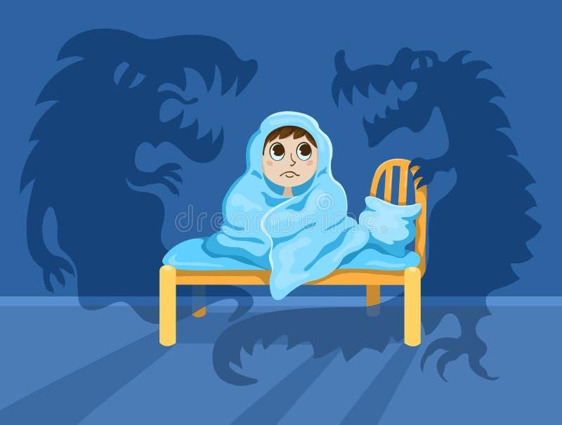 El niño pequeño solamente en la oscuridad ilustración del vector