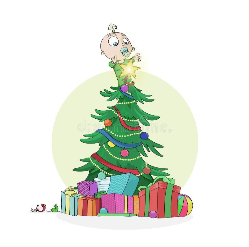 El niño pequeño subió en el árbol de navidad para alcanzar la estrella brillante libre illustration