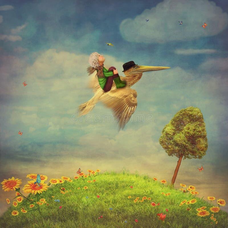El niño pequeño y el pelícano marrón en el cielo libre illustration