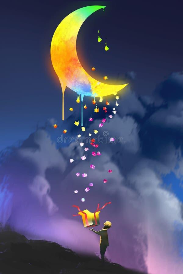 El niño que abre una caja de la fantasía y que mira para arriba un regalo mágico libre illustration