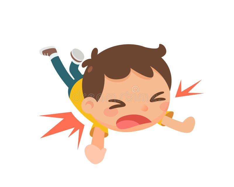 El niño que cae al piso ilustración del vector