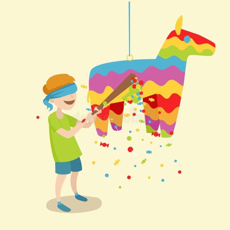 El niño rompe el vector de la historieta del pinata ilustración del vector