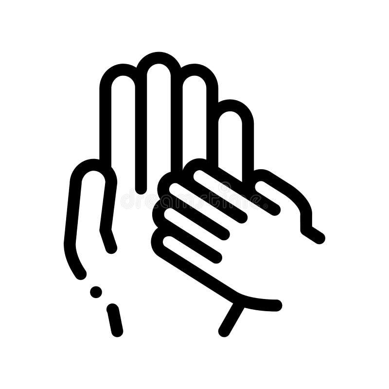 El niño se ofrece voluntariamente la línea fina icono del vector de la ayuda libre illustration